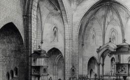 Dibuix de la perspectiva interior de Sant Pere de Figueres dels arquitectes Josep Maria Segarra, Amadeu Llopart i Enric Móra.