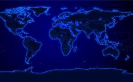 Mapa del mon, contorns en blau fluorescent.