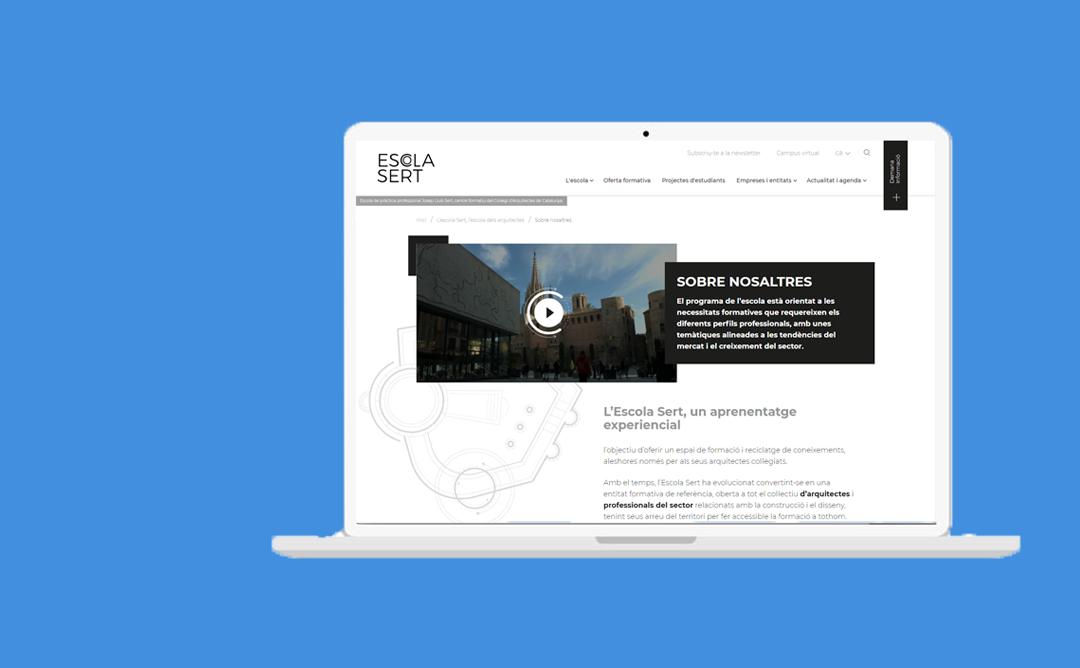 Ilustració d'un ordinador navegant per la nova web de l'escola Sert.